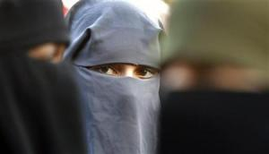 Protestors demonstrate against the ban on Muslim women wearing the burqa in public in The Hague
